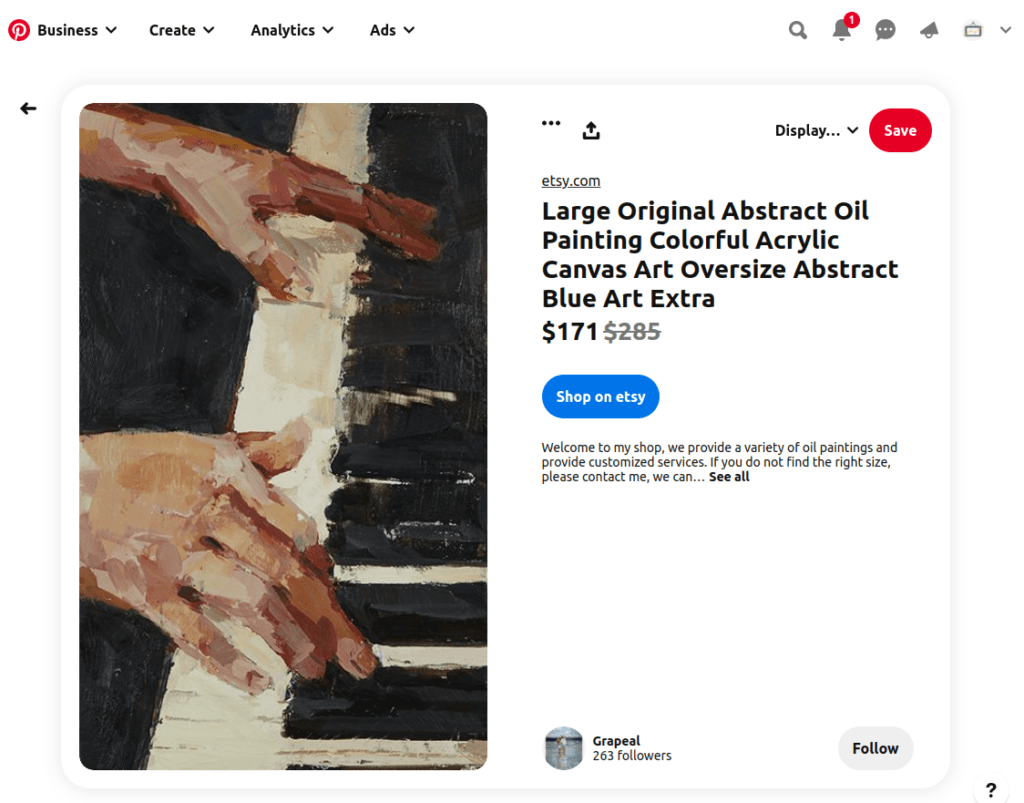Screenshot from Pinterest of painting for sale which is a great way to find local artists