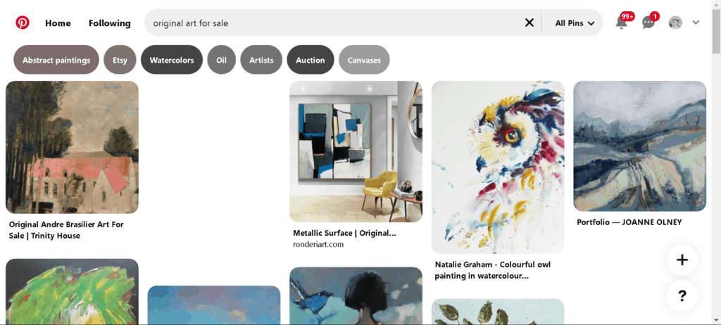 """Pinterest search for """"original art for sale"""" is a good way to find emerging artists."""
