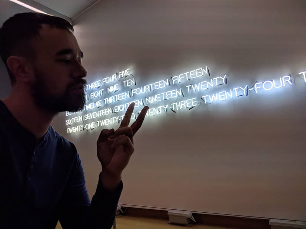Mike at Stedelijk Museum Amsterdam check out the neon wall art