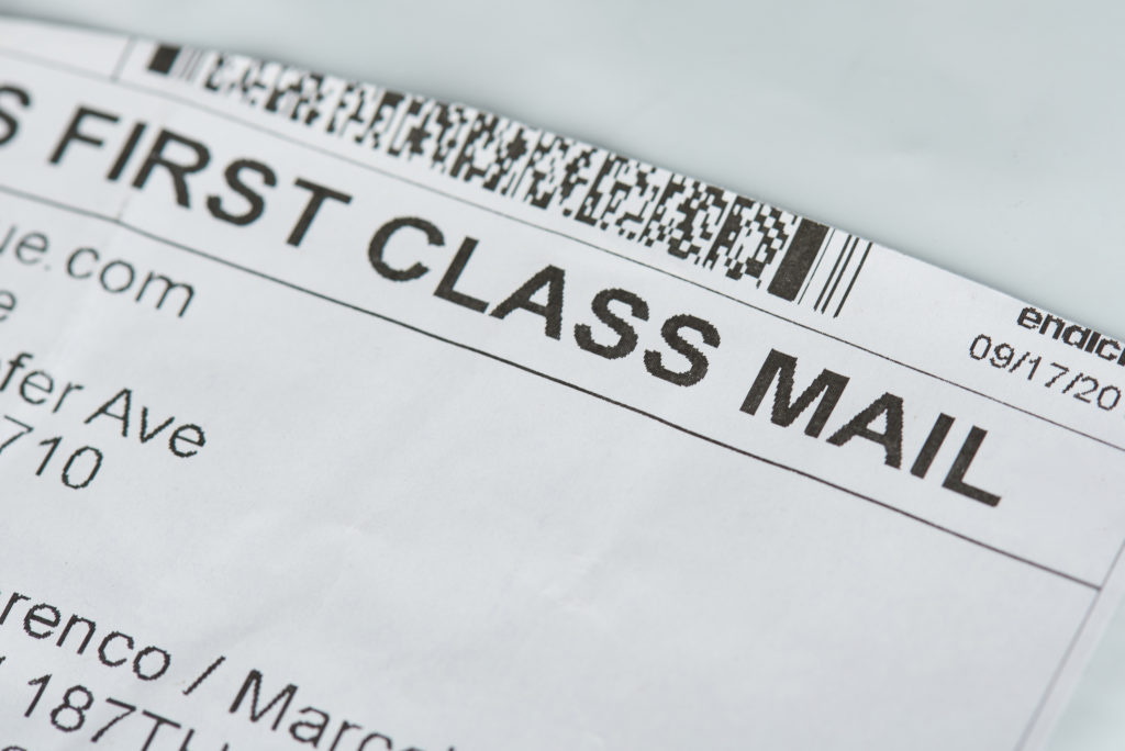 First class mail label.