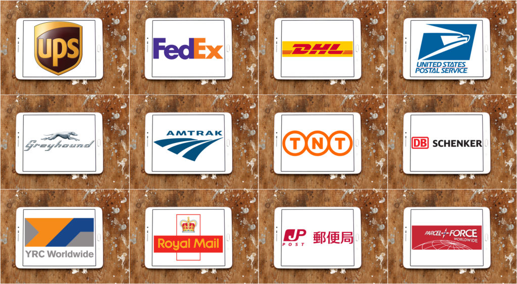 Top famous postal shipping companies logos.