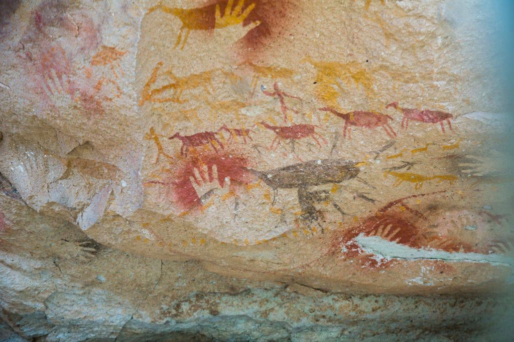 Early cave paintings in Argentina.
